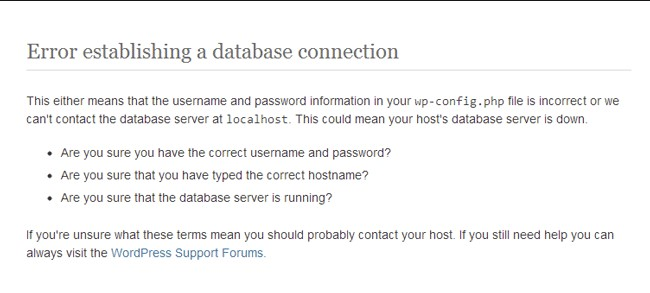 Wordpress Website Error establishing a database connection