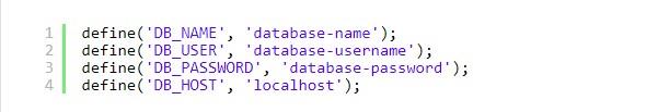 wordpress define database wp-config file settings