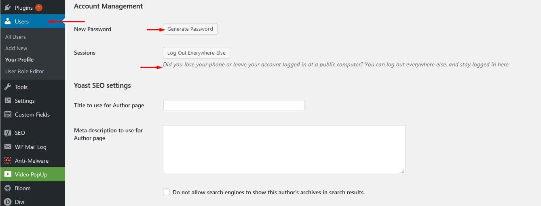 WordPress Dashboard Password Change