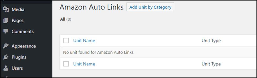 Amazon Auto Links settings in WordPress dashboard